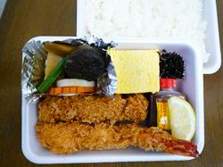 ヒレ・エビ・玉子焼・野菜煮弁当